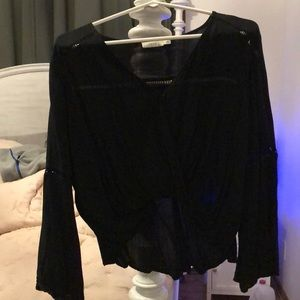 LUSH from Nordstrom, long flare sleeve crop top